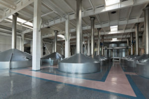 Brewing production - mash vats, the interior of the brewery, nobody